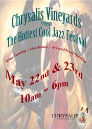 Hey, get hip, daddy-O. Jazz – yeah man, come hear'm beat it out at Chrysalis Vineyards.