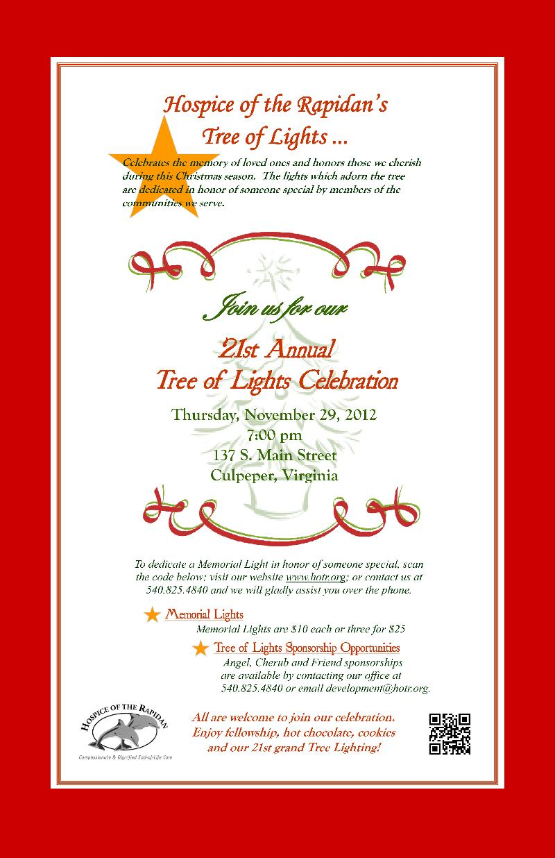 Hospice of the Rapidan's Tree of Light Celebration 2012