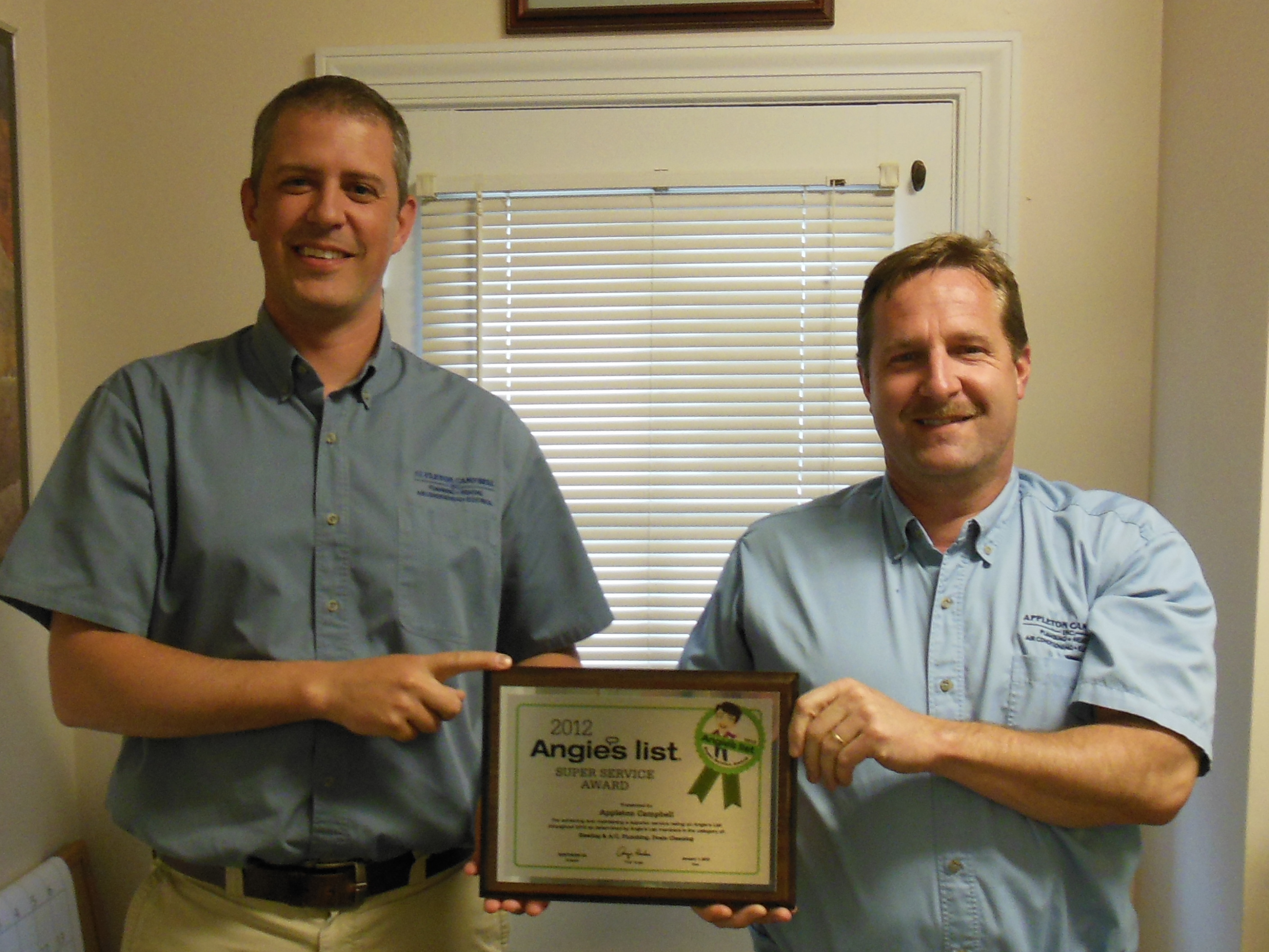 Appleton Campbell Earns 2012 Angie's List Super Service Award in Three Categories