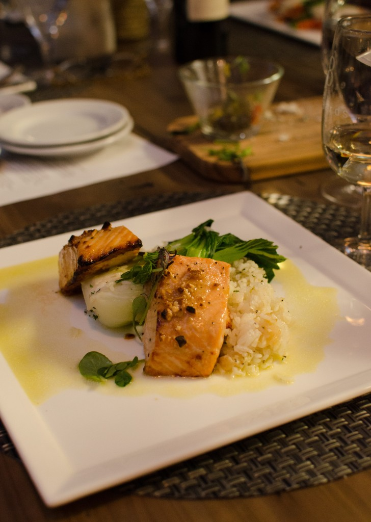 Cashew Lacquered-Salmon with Bok Choy
