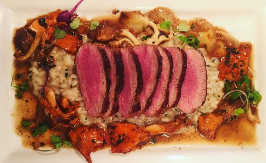 Threepenny Cafe - Roasted Lamb Loin, Parmesan Risotto, Chanterelle Mushrooms and Lamb Jus