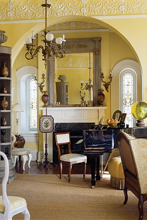 the music room is designed around dixons grandmothers walnut piano courtesy of southern accents